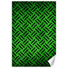 Woven2 Black Marble & Green Brushed Metal (r) Canvas 24  X 36
