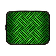 Woven2 Black Marble & Green Brushed Metal (r) Netbook Case (small)