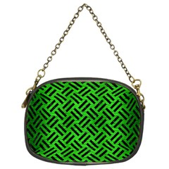 Woven2 Black Marble & Green Brushed Metal (r) Chain Purses (two Sides)