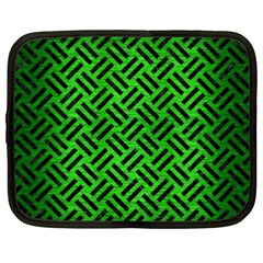 Woven2 Black Marble & Green Brushed Metal (r) Netbook Case (xxl)