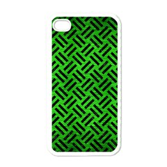 Woven2 Black Marble & Green Brushed Metal (r) Apple Iphone 4 Case (white)