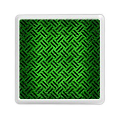 Woven2 Black Marble & Green Brushed Metal (r) Memory Card Reader (square)