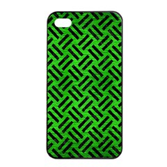 Woven2 Black Marble & Green Brushed Metal (r) Apple Iphone 4/4s Seamless Case (black)