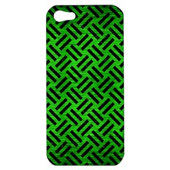 Woven2 Black Marble & Green Brushed Metal (r) Apple Iphone 5 Hardshell Case