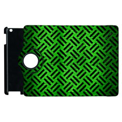 Woven2 Black Marble & Green Brushed Metal (r) Apple Ipad 3/4 Flip 360 Case