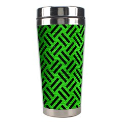 Woven2 Black Marble & Green Brushed Metal (r) Stainless Steel Travel Tumblers