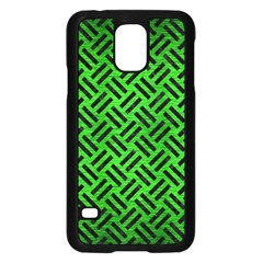 Woven2 Black Marble & Green Brushed Metal (r) Samsung Galaxy S5 Case (black)