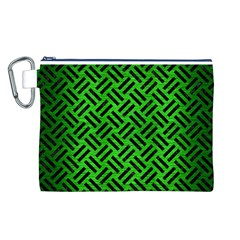 Woven2 Black Marble & Green Brushed Metal (r) Canvas Cosmetic Bag (l)