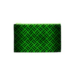 Woven2 Black Marble & Green Brushed Metal (r) Cosmetic Bag (xs)