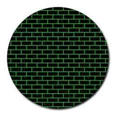Brick1 Black Marble & Green Colored Pencil Round Mousepads