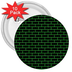 Brick1 Black Marble & Green Colored Pencil 3  Buttons (10 Pack)