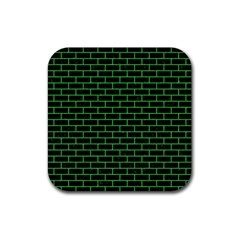 Brick1 Black Marble & Green Colored Pencil Rubber Coaster (square)