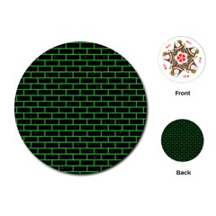Brick1 Black Marble & Green Colored Pencil Playing Cards (round)