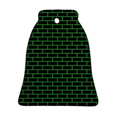 Brick1 Black Marble & Green Colored Pencil Ornament (bell)
