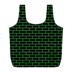 Brick1 Black Marble & Green Colored Pencil Full Print Recycle Bags (l)