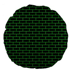 Brick1 Black Marble & Green Colored Pencil Large 18  Premium Flano Round Cushions