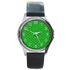 Brick1 Black Marble & Green Colored Pencil (r) Round Metal Watch