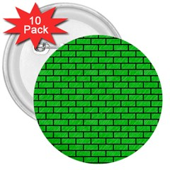 Brick1 Black Marble & Green Colored Pencil (r) 3  Buttons (10 Pack)
