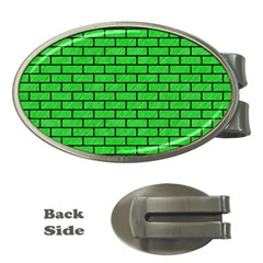 Brick1 Black Marble & Green Colored Pencil (r) Money Clips (oval)