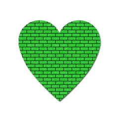 Brick1 Black Marble & Green Colored Pencil (r) Heart Magnet