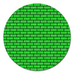 Brick1 Black Marble & Green Colored Pencil (r) Magnet 5  (round)