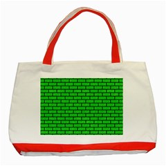 Brick1 Black Marble & Green Colored Pencil (r) Classic Tote Bag (red)