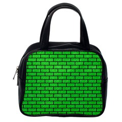 Brick1 Black Marble & Green Colored Pencil (r) Classic Handbags (one Side)