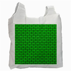 Brick1 Black Marble & Green Colored Pencil (r) Recycle Bag (one Side)