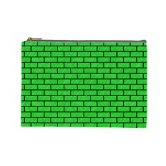 Brick1 Black Marble & Green Colored Pencil (r) Cosmetic Bag (large)