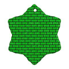Brick1 Black Marble & Green Colored Pencil (r) Ornament (snowflake)