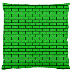 Brick1 Black Marble & Green Colored Pencil (r) Large Flano Cushion Case (one Side)