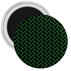 Brick2 Black Marble & Green Colored Pencil 3  Magnets