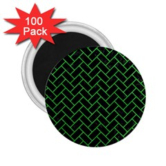 Brick2 Black Marble & Green Colored Pencil 2 25  Magnets (100 Pack)