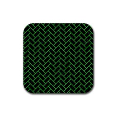 Brick2 Black Marble & Green Colored Pencil Rubber Square Coaster (4 Pack)