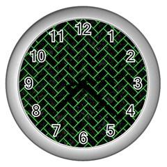 Brick2 Black Marble & Green Colored Pencil Wall Clocks (silver)