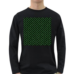 Brick2 Black Marble & Green Colored Pencil Long Sleeve Dark T Shirts
