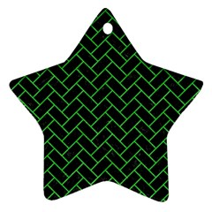 Brick2 Black Marble & Green Colored Pencil Star Ornament (two Sides)