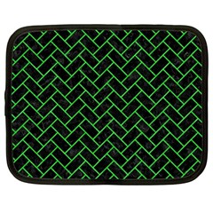Brick2 Black Marble & Green Colored Pencil Netbook Case (large)