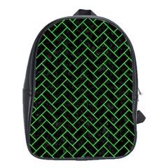 Brick2 Black Marble & Green Colored Pencil School Bag (large)