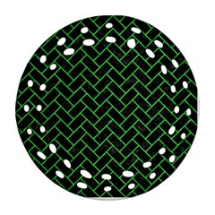 Brick2 Black Marble & Green Colored Pencil Ornament (round Filigree)