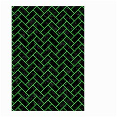 Brick2 Black Marble & Green Colored Pencil Small Garden Flag (two Sides)