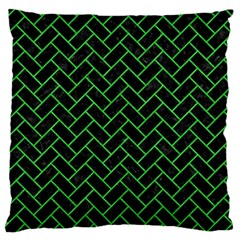 Brick2 Black Marble & Green Colored Pencil Large Cushion Case (two Sides)
