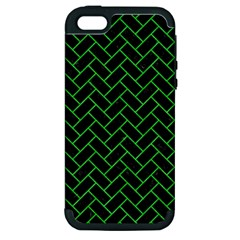Brick2 Black Marble & Green Colored Pencil Apple Iphone 5 Hardshell Case (pc+silicone)