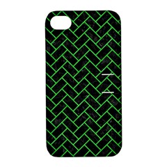 Brick2 Black Marble & Green Colored Pencil Apple Iphone 4/4s Hardshell Case With Stand