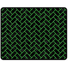 Brick2 Black Marble & Green Colored Pencil Double Sided Fleece Blanket (medium)