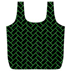 Brick2 Black Marble & Green Colored Pencil Full Print Recycle Bags (l)