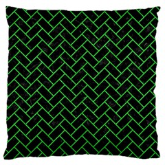 Brick2 Black Marble & Green Colored Pencil Standard Flano Cushion Case (two Sides)