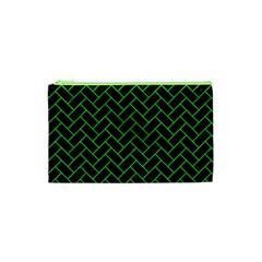 Brick2 Black Marble & Green Colored Pencil Cosmetic Bag (xs)