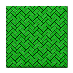 Brick2 Black Marble & Green Colored Pencil (r) Tile Coasters