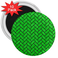 Brick2 Black Marble & Green Colored Pencil (r) 3  Magnets (10 Pack)
